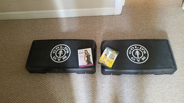 2 golds gym steppers and workout video.