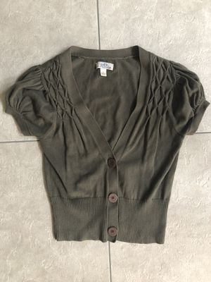 Olive green short sleeve cardigan/ sweater, size small for Sale in Springfield, VA
