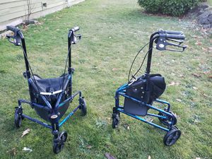 Carex 3 Wheel Walker for Seniors, Foldable, Rollator Walker with Three Wheels, Height Adjustable Handles ((2 available $ 55 for each or best offer)) for Sale in Everett, WA