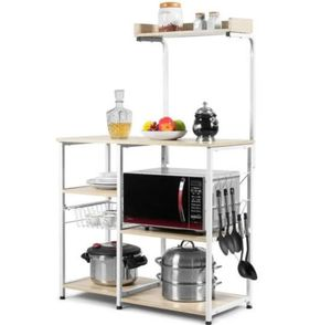 4-Tier Kitchen Baker's Rack With Basket And 5 Hooks-Natural NEW! for Sale in Alta Loma, CA