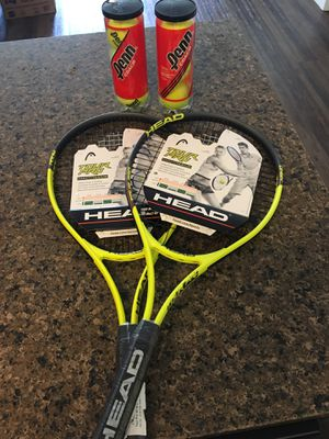 2 Brand New Tennis Rackets + 6 Balls for Sale in Rancho Cucamonga, CA