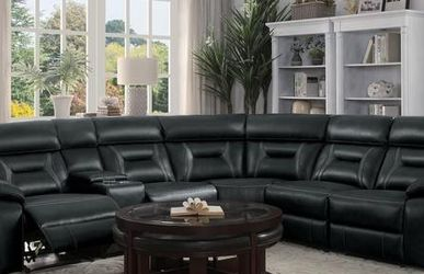 🍒An elegant touch❤Amite Dark Gray Leather Gel Power Reclining Sectional by Homelegance for Sale in Arlington,  VA