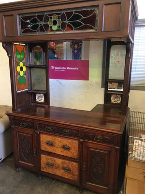 Solid mahogany bar island. Real leaded stained glass for Sale in Long Beach, CA