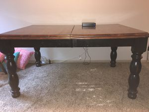 Solid wood black & cherry finish dining table with leaf for Sale in Lee's Summit, MO