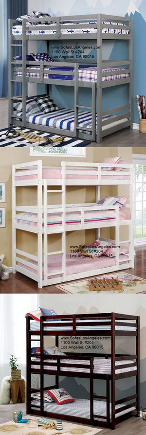 White triple twin over twin bunk bed/No Credit Needed No Credit Check Apply Today for Sale in Downey, CA