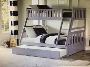 Gray twin overfull bunk bed with trundle for Sale in Glendale, AZ