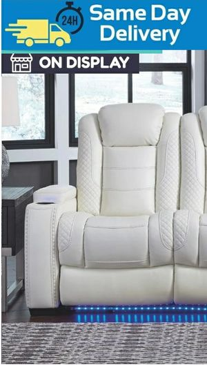 📣Black Friday Sale~In stock🔅[EXCLUSIVE] Party Time White LED Power Reclining Living Room Set with Adjustable Headrest by Ashley for Sale in Laurel, MD