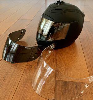 ICON Motorcycle Helmet W/3 visors size:M matte black for Sale in Nipomo, CA