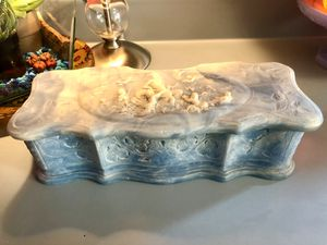 Vtg. Genuine Incolay Stone Blue & White Cherub/Angel Hinged Jewelry/Trinket Box for Sale in Kansas City, MO