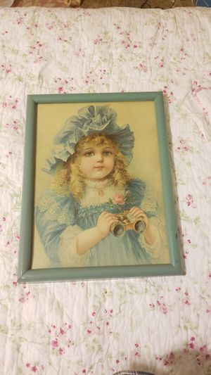 Pending FREE Adorable Vintage Doll Print Victorian little girl. Pink rose Glass covering for Sale in Everett, WA