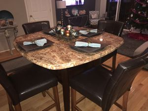 Beautiful Marble Top Dining Set For 4 with wine rack for Sale in NO POTOMAC, MD