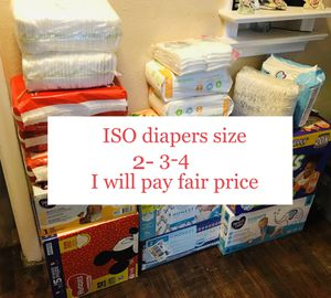 WILL BUY Pampers, Huggies, luvs size 2,3 &4 for Sale in Pasadena, TX