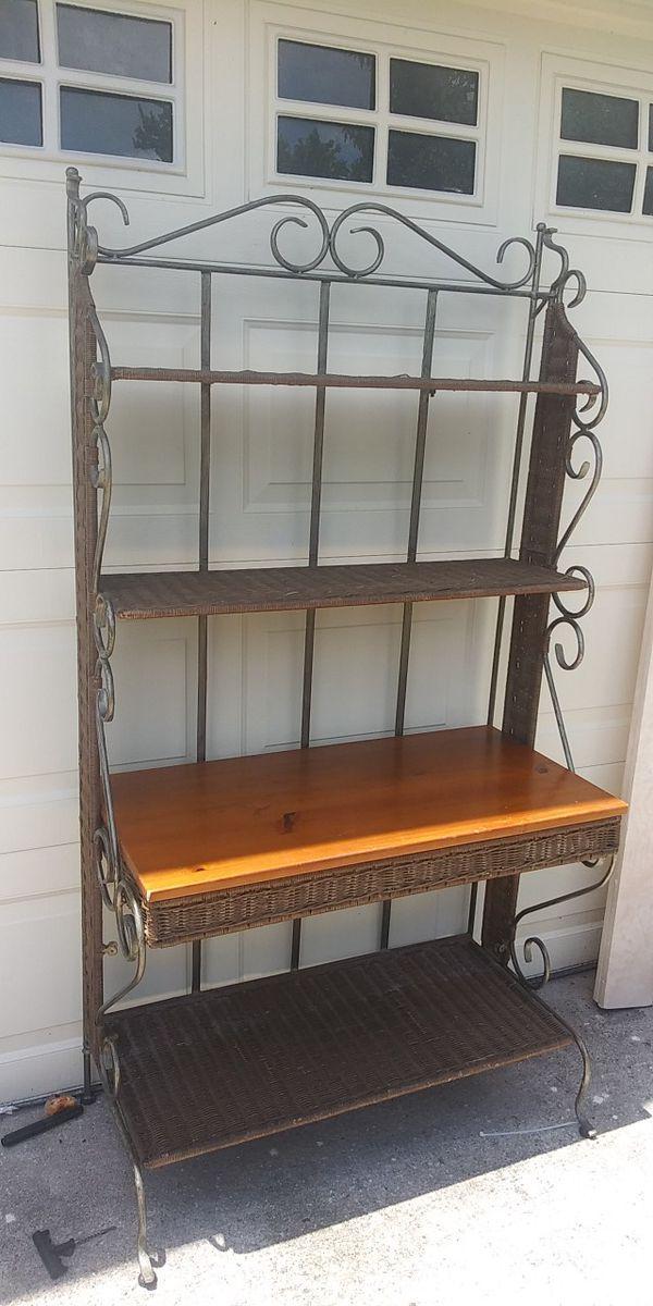 Wicker and metal shelf unit