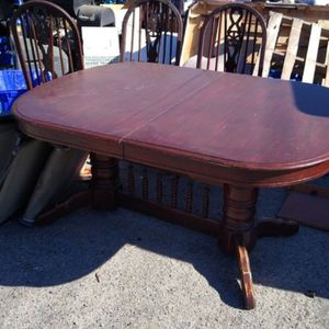 Dinning Table With 5 Chairs Used Real Wood Needs Polish for Sale in San Bernardino, CA