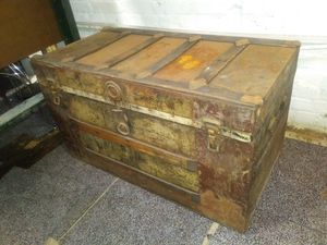 Antique flat top storage steamer trunk for sale for Sale in St. Louis, MO