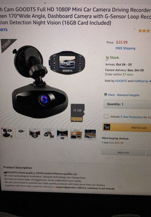 dash cam full HD 1080P mini car camera driving rexorder 1.5 inch screen 170 wide angle (no 16Gb card) for Sale in Rowland Heights, CA