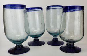 Set of 4 Mexican Cobalt Blue Balloon Wine Glasses /Water Goblets for Sale in Mesa, AZ