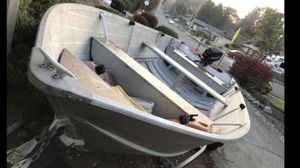 18 ft sylvan aluminum boat, motor and trailer. Deep and wide for Sale in Beaverton, OR