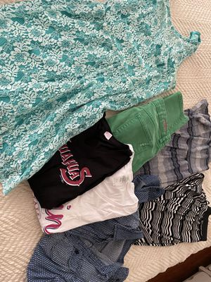 Lot woman's clothes M 6 8 lace dress, long skirts, button down shirt 2 Tshirts for Sale in El Paso, TX