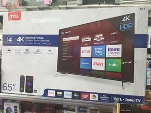 """65"""" LED SMART 4K ULTRA HDTV BY TCL WITH ROKU STREAMING. ENDLESS ENTERTAINMENT for Sale in Los Angeles, CA"""