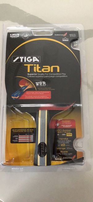 STIGA Tournament-Quality Titan Table Tennis Racket with Crystal Technology to Harden Blade for Increased Speed, 2mm Sponge and Concave Italian Compos for Sale in Queens, NY