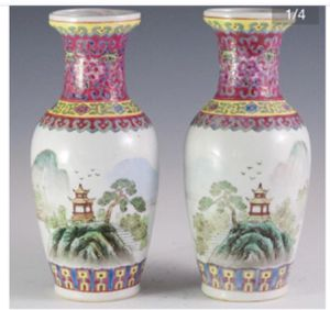 Set of Chinese famille rose vintage vases for Sale in Miami, FL