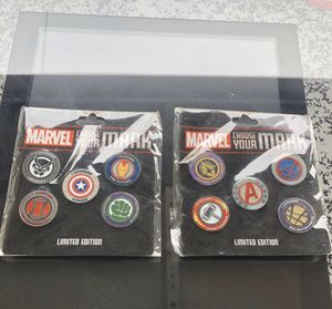 Brand new Disney Marvel set of 2 choose your mark pass holder pins 1 and 2 for Sale in Redondo Beach, CA