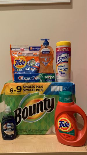 Tide/Bounty/Dawn/Crest/Lysol/Softsoap household bundle for Sale in Alexandria, VA