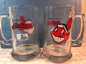 2 Vintage Cleveland Indians glass beer mugs for Sale in Westlake, OH
