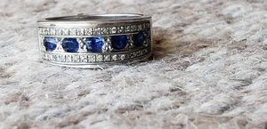 Sapphire and diamond silver ring certified for Sale in Oakley, CA