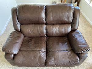 Leather two seat recliner couch for Sale in Marlborough, MA
