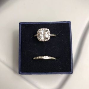 925 Sterling Silver Engagement/Wedding Diamond Ring Set - Code D210 for Sale in Brookline, MA