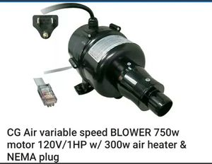 CG Air variable speed BLOWER 750w motor 120V/1HP w/ 300w air heater & NEMA plug for Sale in Norfolk, VA