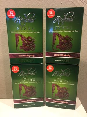 4 packs of Reshma Henna Hair Dye Natural Burgundy for Sale in Los Angeles, CA