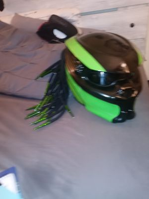 Predator full face motorcycle helmet with green LED LIGHT for Sale in Fresno, CA