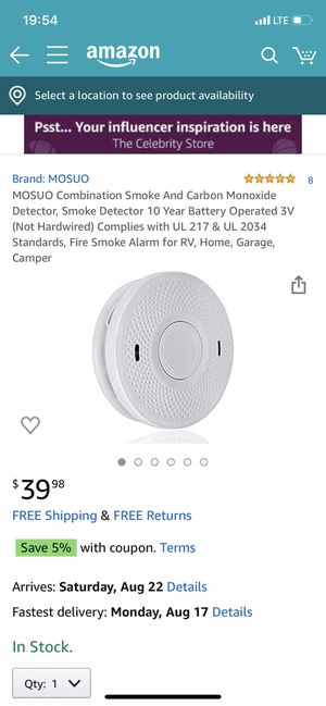 MOSUO Combination Smoke And Carbon Monoxide Detector, Smoke Detector 10 Year Battery Operated 3V (Not Hardwired) Complies with UL 217 & UL 2034 Stand for Sale in Baldwin Park, CA