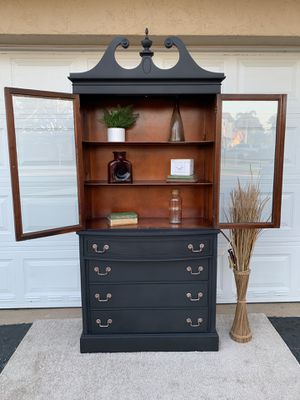 China cabinet buffet dining room hutch accent piece server bar shelf bookshelf display glass doors kitchen cabinet chest of drawers antique wood maho for Sale in Miramar, FL