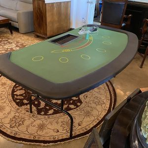 Blackjack table with fold up legs. Card shoe chip holder and some chips included. for Sale in Solana Beach, CA