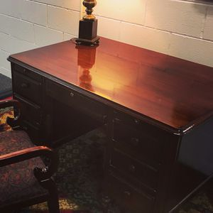 Antique desk with lamp and chair for Sale in Denver, CO