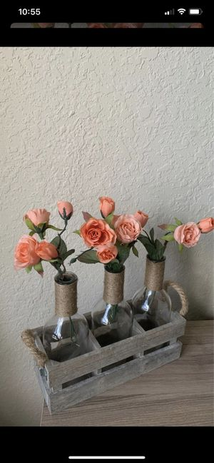 Decorative 3 bottle vase with flowers shabby chic decor for Sale in FL, US