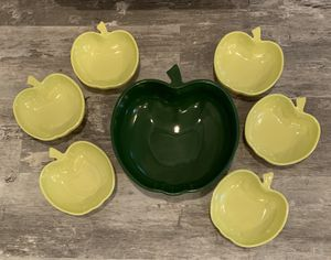 "Vintage Hazel Atlas glass apple shaped bowl set.Total of 7 bowls. The large serving bowl is approx 10"" wide 11"" tall x 3 1/2"" deep and is a dark gree for Sale in Lakewood, WA"