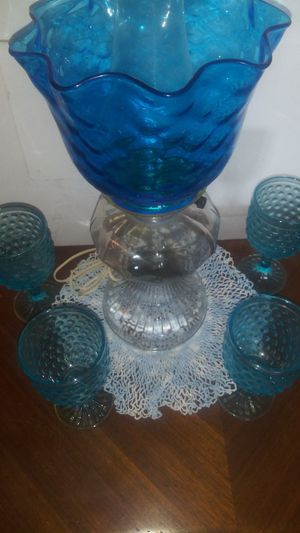 Antique Quilted Blue glass electric oil table lamp hobnail blue water goblets for Sale in Clarksville, TN