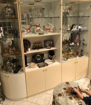 Used Normal Wear 3 Pieces Lightning China Cabinet With Glass Shelves And Door 🚪 for Sale in Cypress, CA