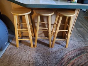 3 solid wood stools for Sale in Gig Harbor, WA