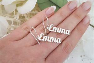 Personalized Vertical Name Earrings Dangle Name Earrings Sideway Custom Name Earrings Stainless Steel Oorbellen Voor Vrouwen for Sale in Johnson City, TN
