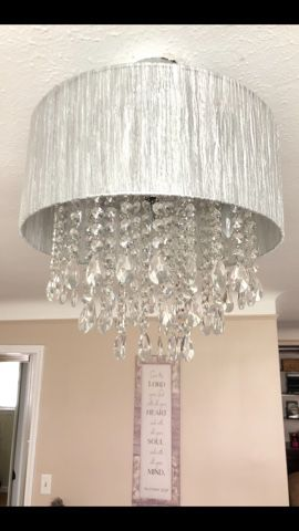 Chandelier Light( great condition). 4 bulbs , 48 clear hanging crystals. for Sale in Parma, OH