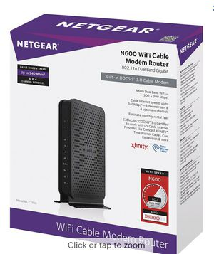 NETGEAR - Dual-Band N600 Router with 8 x 4 DOCSIS 3.0 Cable Modem - Black for Sale in Woodridge, IL