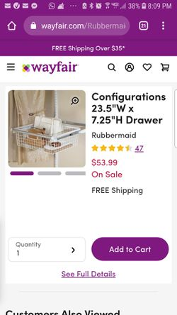 Rubbermaid white wire closet system configurations wire basket hanging drawer for Sale in Fontana,  CA