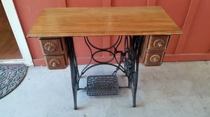 Desk with Antique Treadle Sewing Machine Base for Sale in Redwood City, CA