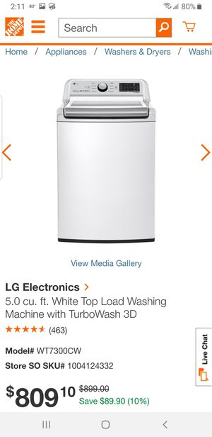 2019 LG 5.0 cu. ft. White Top Load Washing Machine with TurboWash 3D for Sale in West Palm Beach, FL